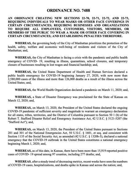 City of Manhattan Face Covering Ordinance - 7-7-20
