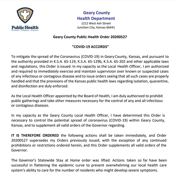 Geary County Order - May 28, 2020